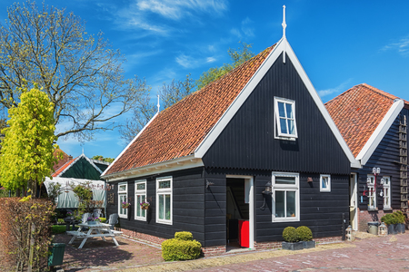 De Woude, Netherlands, April 30, 2017: Characteristic house in the village De Woude which is located on an island in the Alkmaarder and Uitgeester lake in The Netherlands