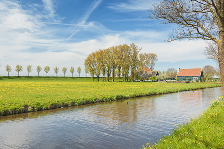 Dike with a row of trees and farmhouse in the Beemster Polder  a cultural landscape located north of Amsterdam, dating from the early 17th century, and an exceptional example of reclaimed land in the Netherlands Stock Photo