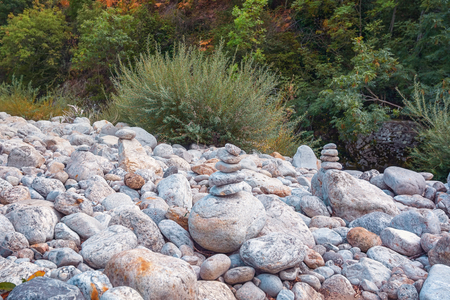 cairns: Cairns along the river Ardeche in France