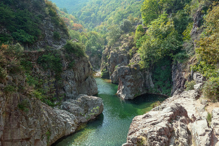 View on the beautiful river Ardeche near the village of Thueyts in the Ardeche department in France Stock fotó