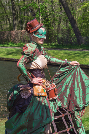 Haarzuilens, Netherlands - April 24, 2016: Forest nymphs at The Elf Fantasy Fair (Elfia), an outdoor fantasy event in the Netherlands.