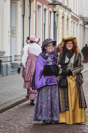 Deventer, Netherlands - December 18, 2016: One of the characters from the famous books of Dickens during the Dickens Festival in Deventer, The Netherlands Editorial