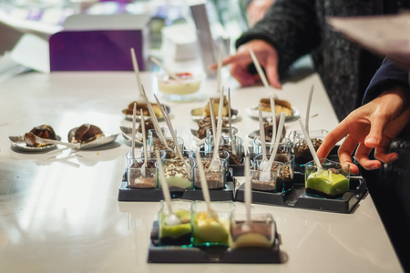Delicious kinds of desserts served at the food festival in Utrecht in the Netherlands