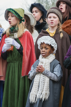 Deventer, Netherlands December 18, 2016: Children perform in a musical during the Dickens Festival in Deventer in The Netherlands Editorial