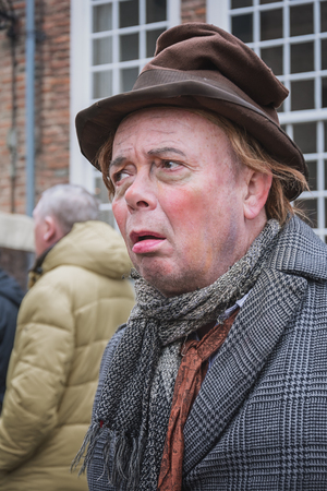 Deventer, Netherlands December 18, 2016: Simple soul one of the characters from the famous books of Dickens during the Dickens Festival in Deventer, The Netherlands