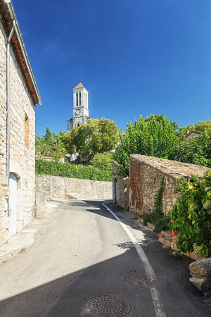 The church in the village Balazuc in the Ardeche region of France Stock Photo
