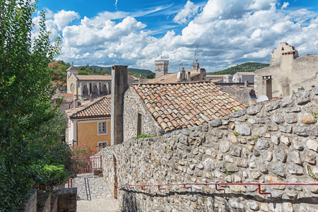 Top view of the rooftops of the village Viviers in the Ardèche region of France