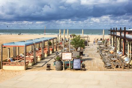 Scheveningen, The Netherlands, August 9, 2017: The terrace of a Beach club along the boulevard. 報道画像