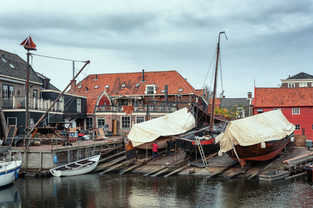 The wharf of the old fishing village Spakenburg in the Netherlands