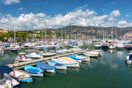Saint-Jean-Cap-Ferrat, France, September 4, 2018: The harbor of the peninsula of Saint-Jean-Cap-Ferrat on the Cote dAzur in France