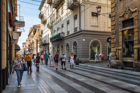 San Remo, Italy, September 18, 2018:  Impression of the via  Giacomo Matteotti in the center of the Italian town San Remo