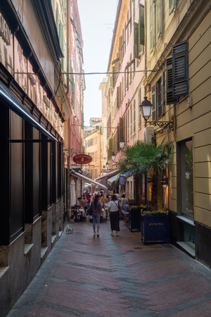 San Remo, Italy, September 18, 2018:  Impression of the narrow streets in the center of the Italian town San Remo