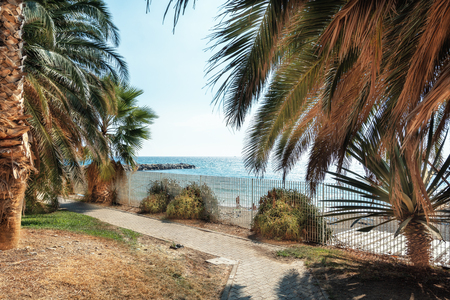 View of the Ligurian Sea from the park in the town San Remo in Italy