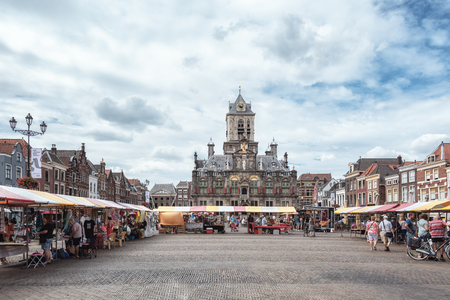 Delft, Netherlands, July 29, 2018:  The City Hall at the market square in the old center in Delft which is a Renaissance style building