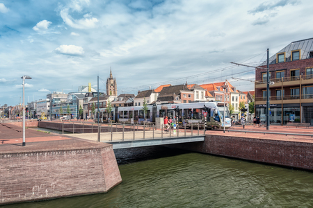Delft, Netherlands, July 29, 2018:  The view of Delft at the exit of the Delft train station in The Netherlands