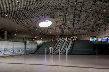Delft, Netherlands, July 29, 2018:  Picture of the hall with travelers in the Central Station Delft