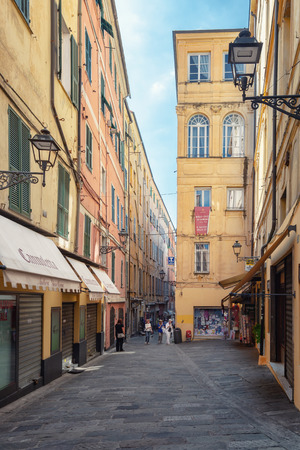 San Remo, Italy, September 18, 2018:  Impression of the narrow street Via Palazzo in the center of the Italian town San Remo Editorial