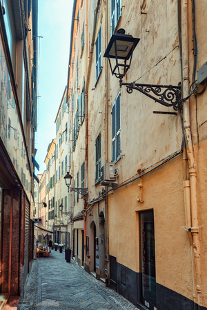 San Remo, Italy, September 18, 2018: Impression of the narrow street Via Camillo Benso di Cavour in the center of the Italian town San Remo Editorial