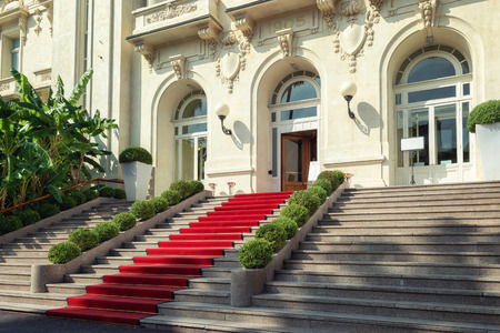 San Remo, Italy, September 18, 2018:  The red carpet in front of the entrance of the famous Casino in San Remo