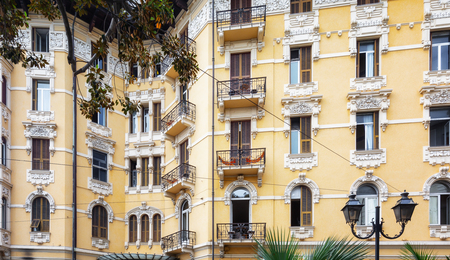 San Remo, Italy, September 18, 2018:  Beautiful facade of a building on the Corso Imperatrice in San Remo