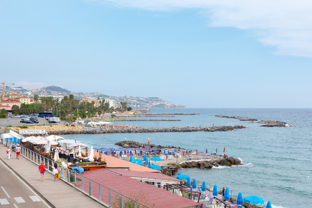 San Remo, Italy, September 18, 2018:  The beach of the Italian city San Remo in the province of Liguria