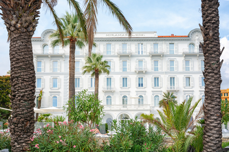 San Remo, Italy, September 18, 2018:  The beautiful white Miramare The Palace hotel in San Remo
