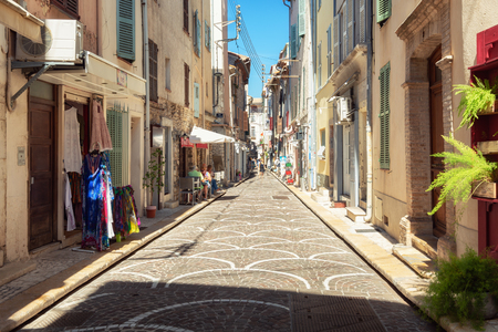 Antibes, France, September 11, 2018: Impression of the narrow streets in the old center of Antibes
