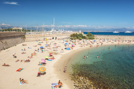 Antibes, France, September 11, 2018: The public bath Plage de la Gravette in the French town of Antibes Editorial