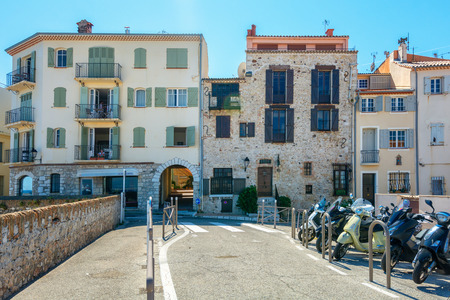 Antibes, France, September 11, 2018: Premises built in old and new architecture along the promenade Amiral de Grasse in Antibes Editorial