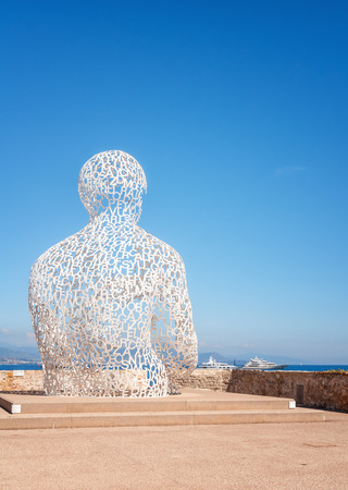 Antibes, France, September 11, 2018:  The artwork The Nomad along the Quay of Billionsaires of the port of the French city Antibes.