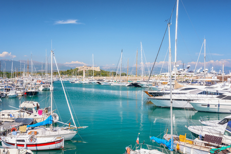 Antibes, France, September 11, 2018: View on Port Vauban in the French town of Antibes with Fort Carre in the background