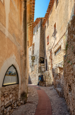 Eze, France, September 5, 2018:  Impression of the narrow streets in the old center of the  picturesque medieval French village of Eze
