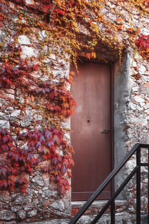 Door of a medieval house in the French village of Eze 版權商用圖片