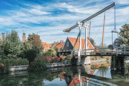 The Kwakelbrug bridge over the Nieuwe Haven canal in Edam in the Netherlands
