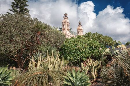 The stwo towers of the Casino Monte Carlo in Monaco with the vegetation of a park in the foreground Archivio Fotografico