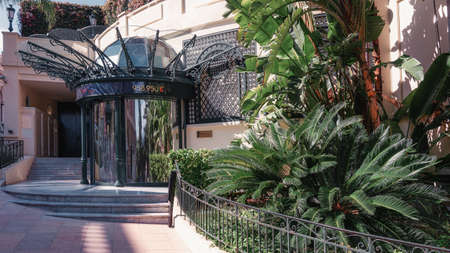 Monaco, September 14, 2018: The entrance to the office of De Société des Bains de Mer which manages the Casino, the Opéra and the Hotel de Paris in Monte Carlo.