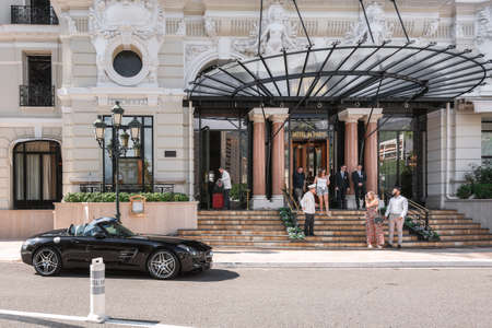 Monaco, September 14, 2018:  The entrance to the Hotel de Paris with its characteristic glass canopy in Monaco