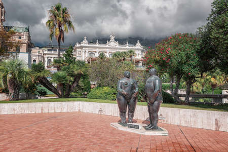 Monaco, September 14, 2018:  Adam and Eve sculptures by Fernando Botero in the gardens below the Casino Monte Carlo