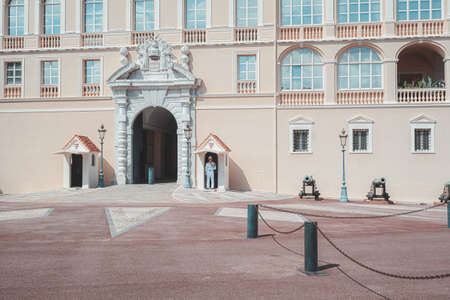 Monaco, September 14, 2018: The guarded main entrance to the Prince's Palace Monaco