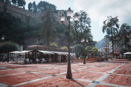 Monaco, September 14, 2018: Square d'Armes located at the bottom of the mountain of the princely palace in Monaco