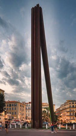 Nice, France, September 30, 2018: Nine Oblique Lines is a steel monument on the Promenade des Anglais by French artist Bernar Venet.
