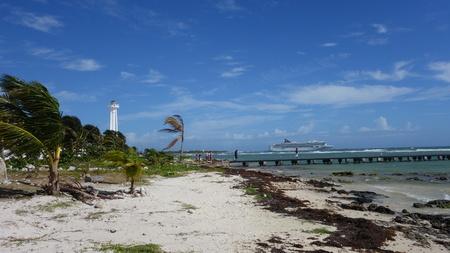 cruis: Lighthouse on Costa Maya Beach Stock Photo