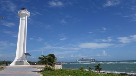 costa: Lighthouse on Costa Maya Beach Stock Photo