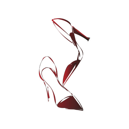 Red shoes vector illustration on a transparent background Ilustracja