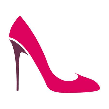 Color logo womens high-heeled shoes, a transparent background. Vector illustration
