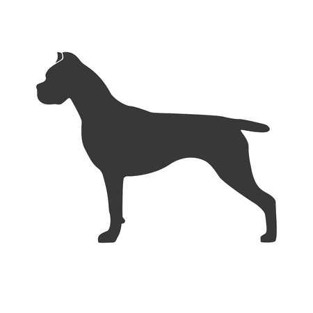 Dog standing in black profile on white background. Design element for a logo of nursery logo, print, icon etc. Vector illustration.