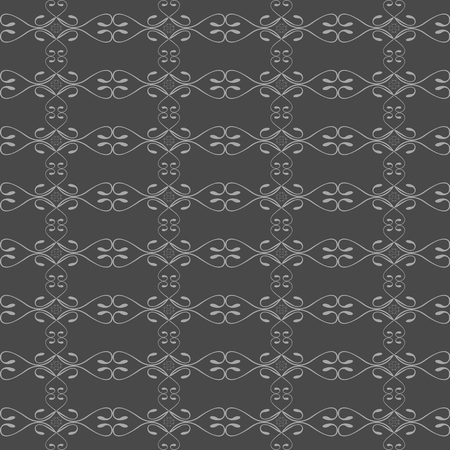 Curls seamless pattern. Swirls of gray on a dark gray background. Vector illustration.