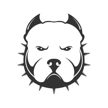 Marchio del cane. Ritratto di cane arrabbiato ??in collare con spine. Illustrazione vettoriale di testa di cane su sfondo bianco.