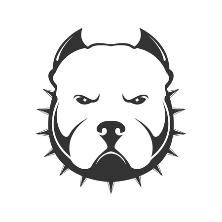 Dog logo. Portrait of angry dog ??in collar with thorns. Vector illustration of dog head on white background.