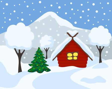 Winter landscape, vector illustration. Winter tree background with Christmas tree Cartoon flat style.